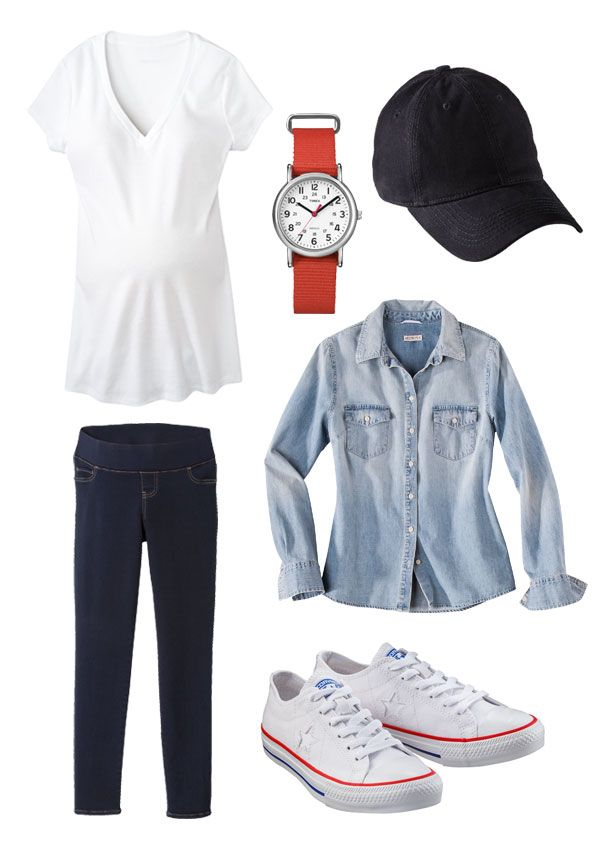 Pull together a casual maternity outfit with a few basic momma must-haves.