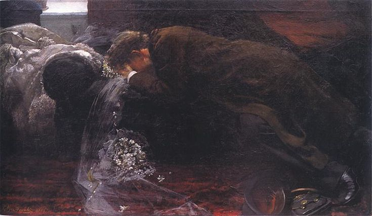 Leon Wyczółkowski (Polish 1852–1936, Warsaw) [Polish Realism, Młoda Polska] Welon. 1885. Olej na płótnie. 50 x 99 cm. Muzeum Górnośląskie, Bytom.