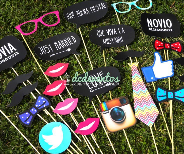 Kit Props Photo booth Casamientos: divertidos accesorios para sacarse fotos! #wedding #photobooth #photos