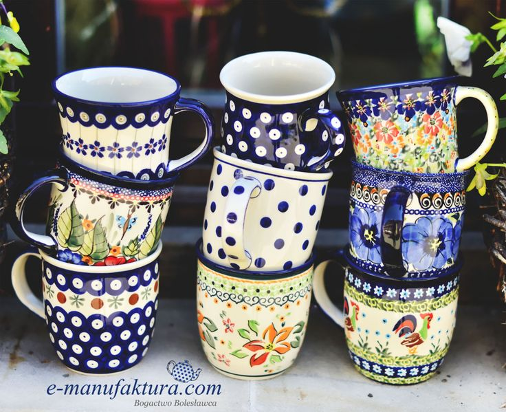 Classic ceramic mugs. Hand formed and hand decorated.