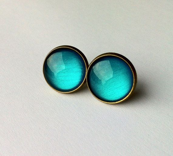 Aqua Earrings, science studs earrings, physics jewelry, fake plugs, plugs earrings, bronze or silver tone turquoise studs earrings, geekery on Etsy, $11.43