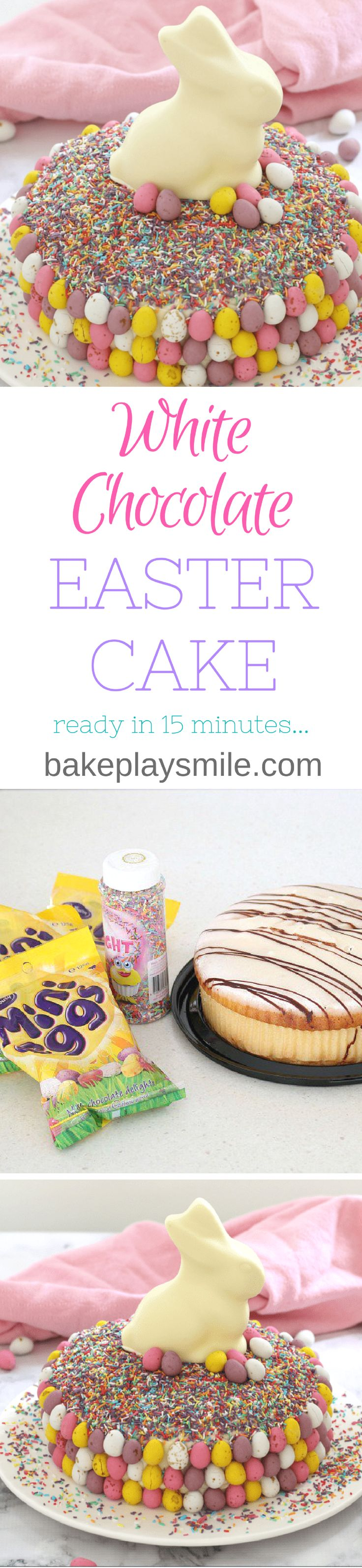 15 minutes is all it takes to whip up this show stopping Easy White Chocolate Easter Cake. It looks AMAZING but is the simplest recipe ever!!! A store-bought white chocolate mud cake covered in white chocolate frosting, heaped with pretty sprinkles and decorated with pastel chocolate Easter eggs and a white chocolate bunny... this really is the ultimate Easter cake!  #easter #cake #15minutes #video #recipe #easy #white #chocolate #bunny #best