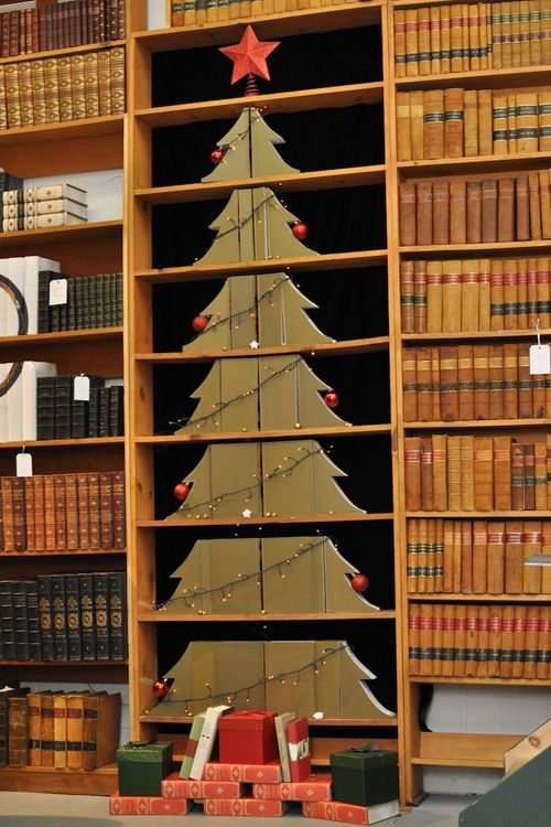 No room for a Christmas tree?  #Christmas #bookshelves