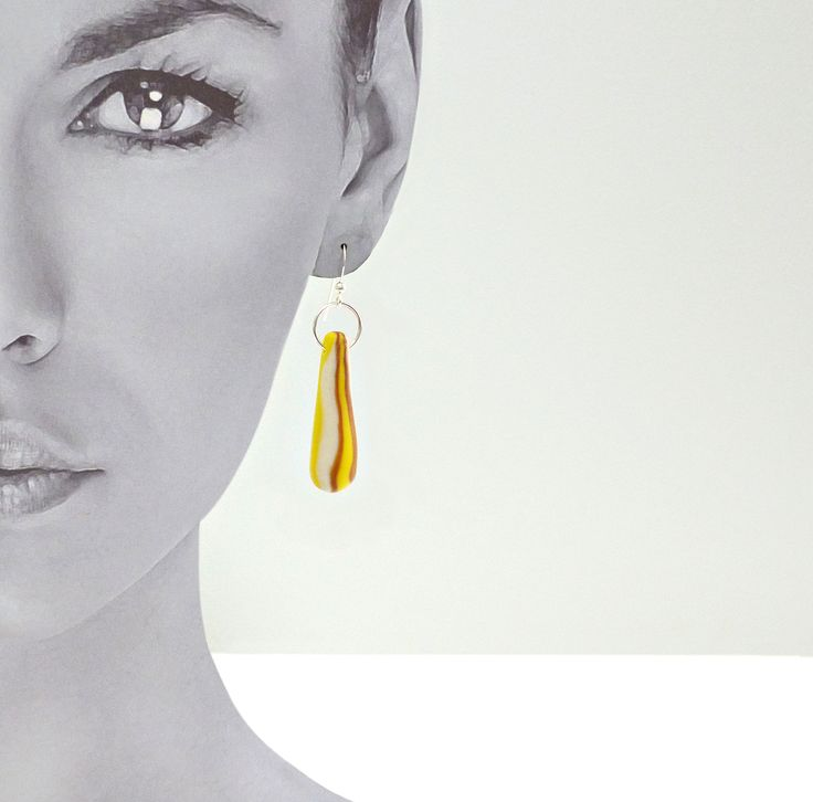 Conical - Gold Swirl Small.  Sterling silver ear hooks. Hand made and unique. $30