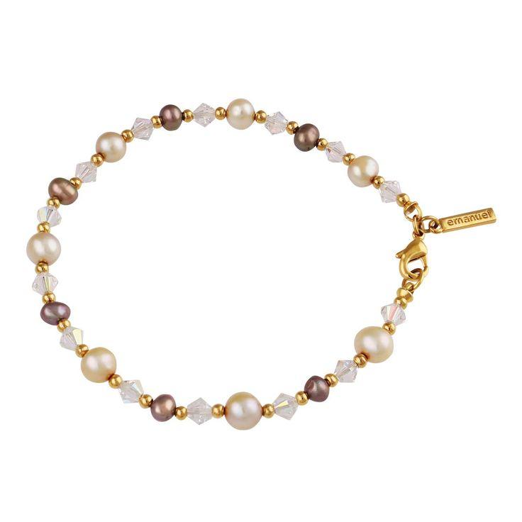 Sanborns en Internet - -Pulsera1928 en Acabado Dorado con Perlas Naturales y Cristal Facetado
