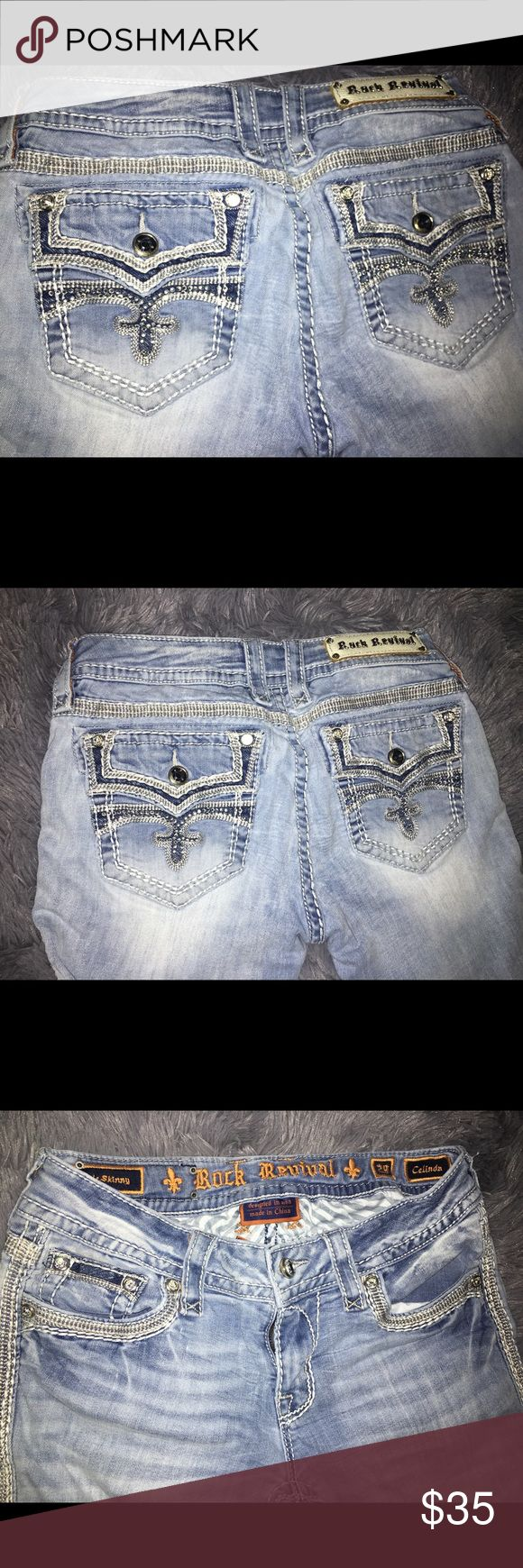 SELLING FOR CHEAP READ DESCRIPTION Lightwash skinny jeans! Name brand! There is a rip on the inside of the thigh that can be easily sewn up... but I don't know how to sew! Selling for cheap Rock Revival Jeans Skinny