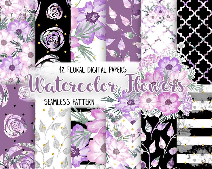 Watercolor Floral Digital Paper Pack,Purple and Pink, Black White & Gold, Romantic Paper Pattern,Scrapbooking Paper,Watercolor Flowers by CamDoodleArt on Etsy
