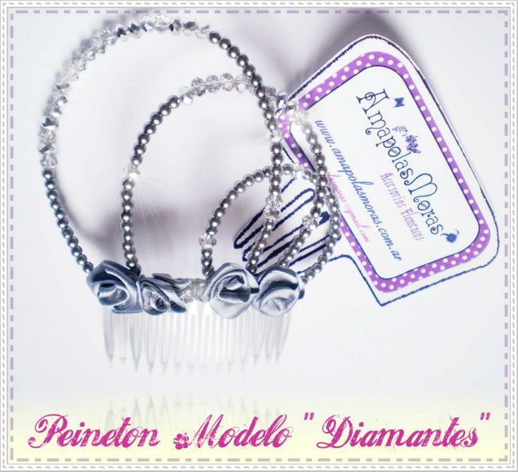 """Peinetón Modelo """"Diamantes"""" Cuentas de vidrio facetadas brillantes y reflectivas combinadas con perlas metalizadas. Un objeto de lujo para embellecer y acompañar nuestro arte! AmapolasMoras - Complementos Flamencos"""