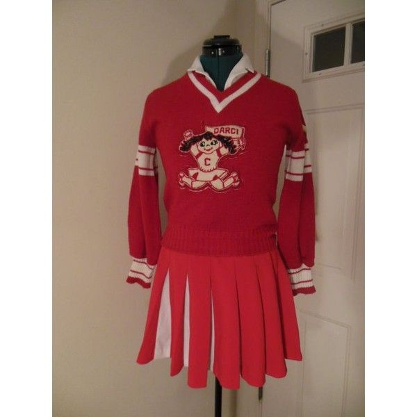 Vintage Cheerleader Uniform with Sweater! Halloween Costume or Fun! ❤ liked on Polyvore featuring costumes, vintage halloween costumes, zombie halloween costumes, zombie costume, retro halloween costumes and cheerleader halloween costume