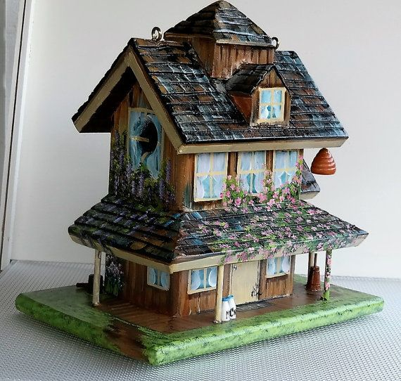 Unique , Handmade , Farmhouse Birdhouse , Hand Painted with lots of Colorful Flowers