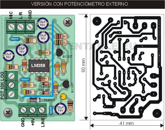 Vista pictórica y circuito impreso del módulo con potenciómetro externo.