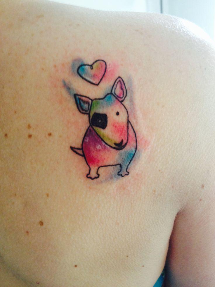 Watercolor Bull terrier tattoo