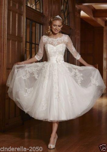 2016 kurz Knielänge Spitze weiß Elfenbein Hochzeitskleid Brautkleid Abendkleid
