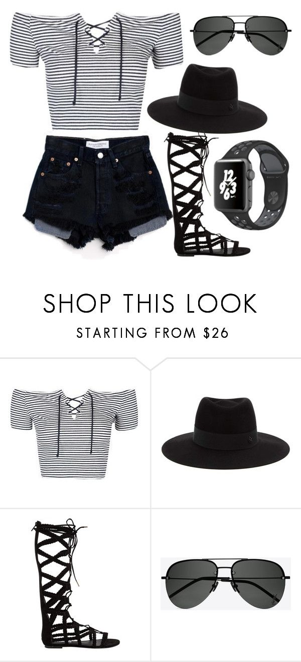 """black and white stripes"" by jaiden-ortiz on Polyvore featuring Topshop, Levi's, Maison Michel, Steve Madden, Yves Saint Laurent and NIKE"