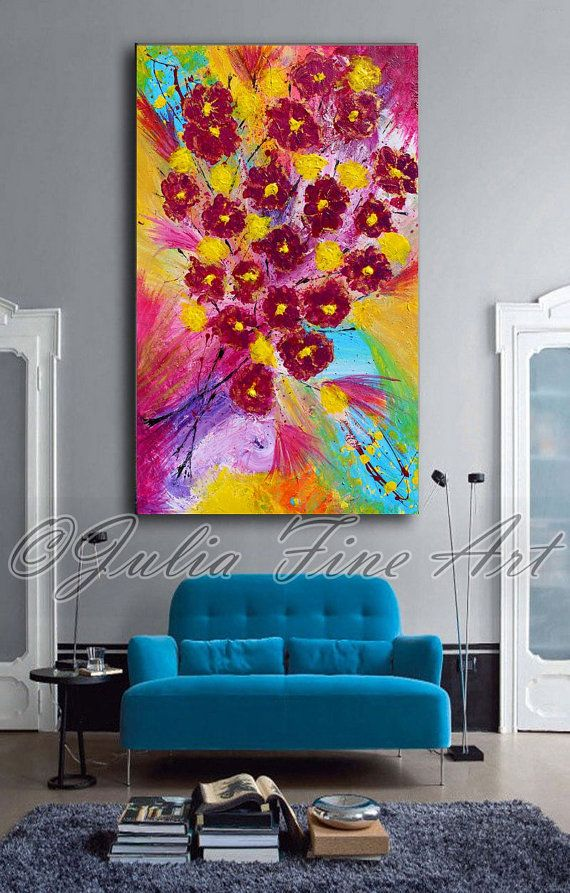 #ORIGINALPainting For #SALE #COLORFULPainting #ModernArt Check out #AbstractPainting, #FloralArt, #RedFlowers, #LargePainting, #Impasto, #RichTexture, #SpringPainting, #ColorfulArt #Modern, #Green, #WallArtDecor on #Etsy by #juliaapostolova