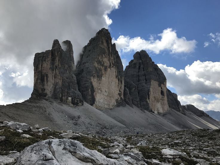 Some of the limestone monoliths that define the Dolomite region.