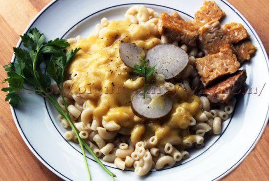 Pâtes avec topinambour, sauce à la courge Patidou et leur tempeh, par PIGUT