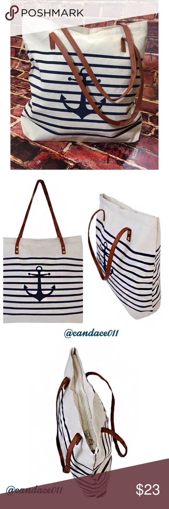"""⭐️5 STAR rated!⭐️ Nautical Tote Anchor print and stripes in navy Tan leatherette handles 100% Cotton Zipper closure Size: Length = 12"""" Width = 3"""" Height + 12"""" CC Boutique  Bags Totes"""