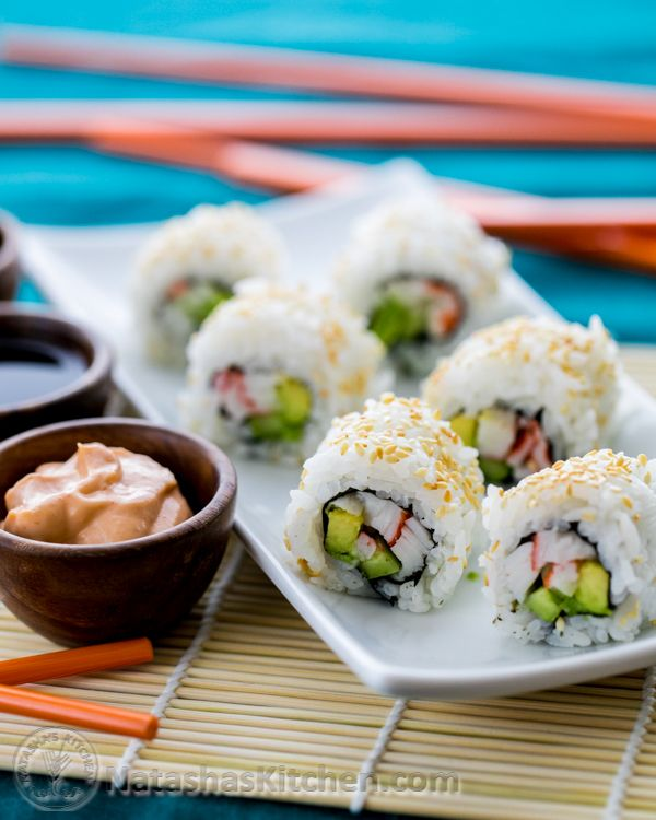 Sushi Rice and California Rolls Recipe. Can also use rice paper, AKA spring roll wrapper, instead of nori sheets (seaweed).