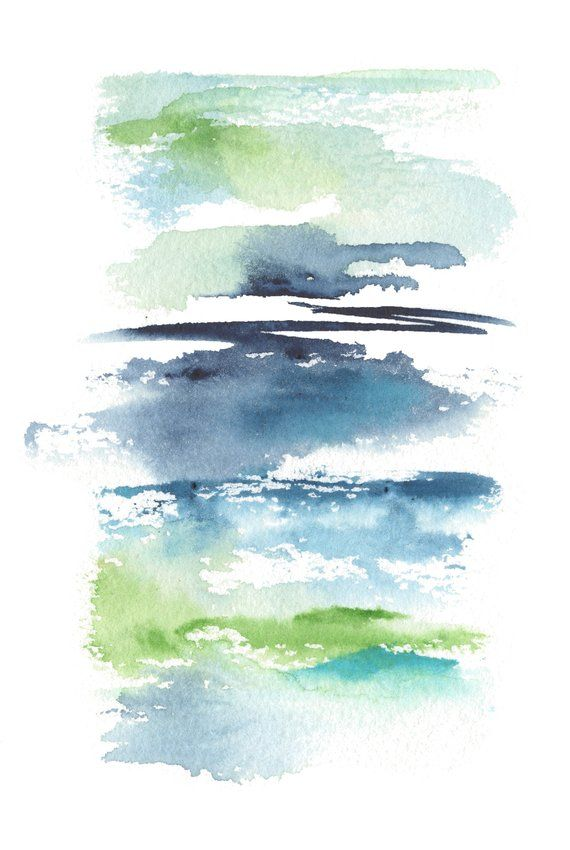 A Modern Landscape Watercolor Painting Entitled Etsy Abstract