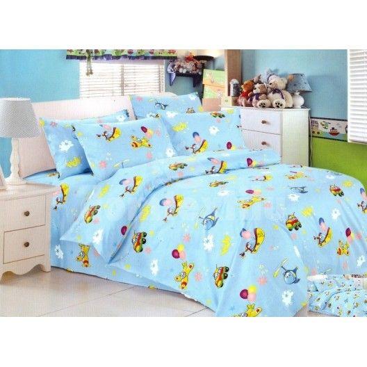 Detská posteľná obliečka modrej farby s lietadlami