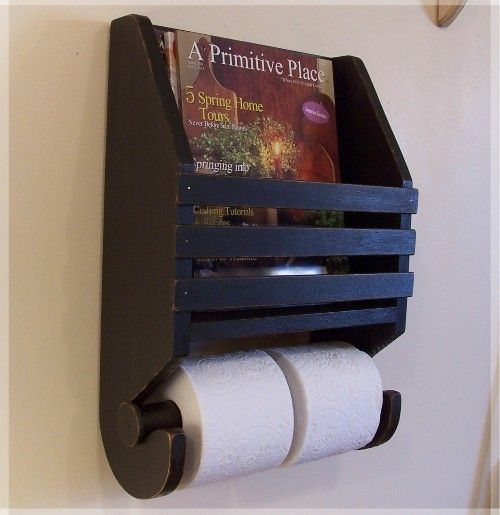 Primitive Farmhouse Magazine Rack Toilet Paper Holder for the Bathroom / Lamp Black / Color Choice.