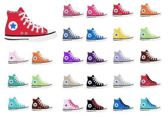 CONVERSE Clipart chuck taylor high tops shoe clipart