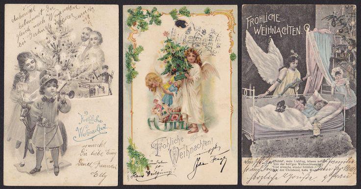 3-Christmas-Frohliche Weihnachten-Children-Dolls-Angels-Victorian-Postcard Lot #Christmas