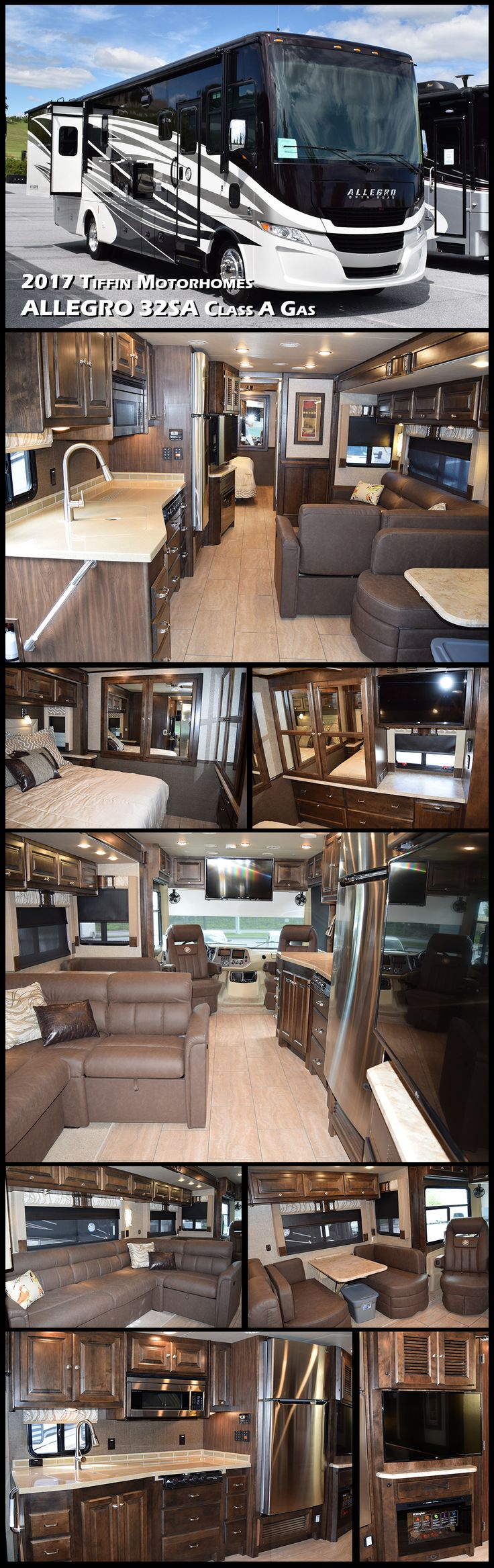 Enjoy each journey you take in this 2017 Tiffin Motorohmes ALLEGRO 32SA Class A Motorhome. You will find plenty of space with two large slides, a king size bed, and all the amenities you need to have the freedom to explore distant places in comfort!