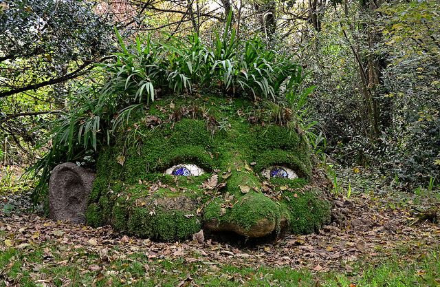 Giant's Head sculpture at the Lost Gardens of Heligan in St. Austell, England