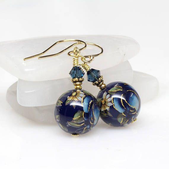 Blue Floral Japanese Tensha Earrings Navy Multicoloured