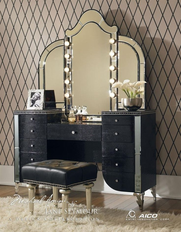 lighted vanity aico hollywood swank vanity with bench set 3 piece in crystal croc by cheap vanity lighting