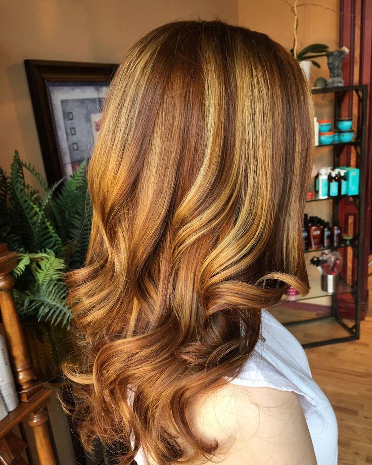 Natural auburn hair with highlights