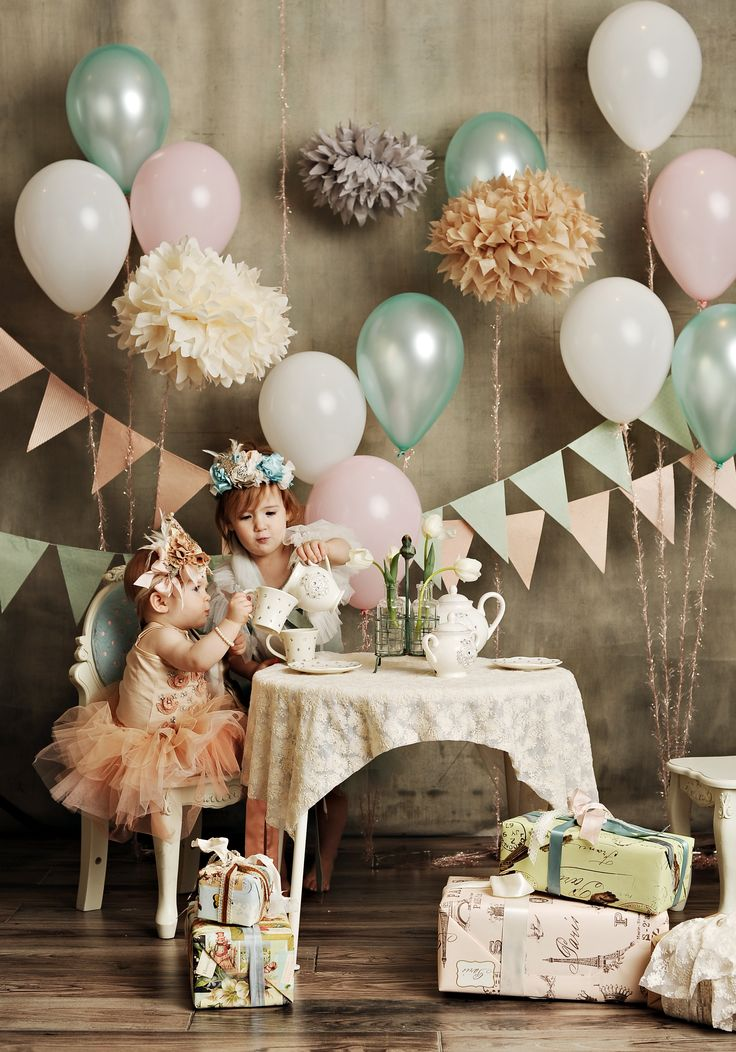 Fabulous vintage children's tea party, christening, birthday, wedding, engagement party idea - using antique and shabby chic colours and vintage coloured pom pom flowers