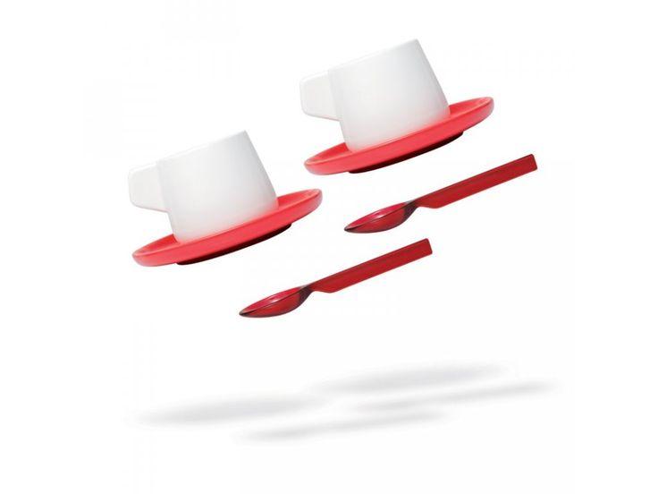 Šálky s podšálkem a lžičkou VICE VERSA Caffeina, 2ks | červené. Porcelánové…