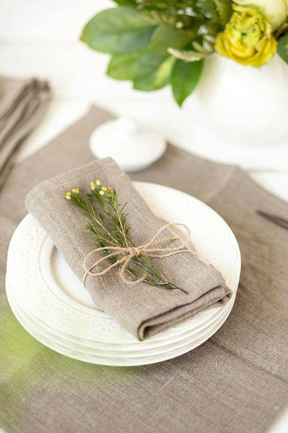 Softened linen napkins set of 6 - Linen napkins - Gray napkins - Organic napkin cloths - Easter napkins - Rustic linen napkins
