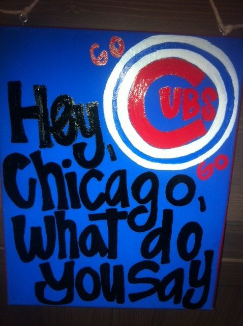 Hand Painted Canvas  8x10  Chicago Cubs  Hey by OneLoveMileHigh, $22.00