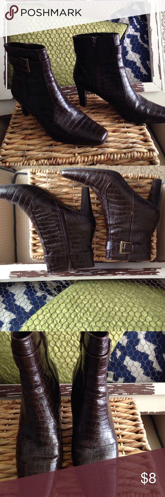 "Women's chocolate brown animal skin booties. These are in great condition! Gold buckle. 2.5"" heel. predictions Shoes Ankle Boots & Booties"