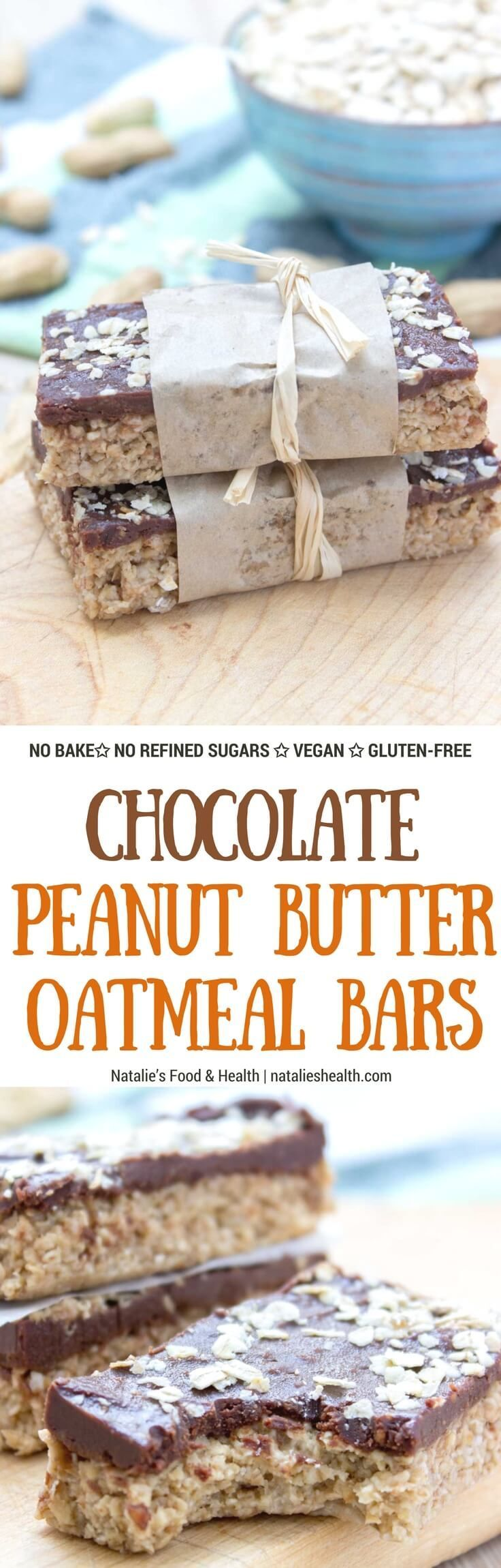 Protein-rich and delicious, No Bake Chocolate Peanut Butter Banana Oatmeal Bars made with all HEALTHY natural ingredients. These bars are vegan, refined sugar-free and gluten-free and packed with healthy dietary fibers. A perfect midday bite, or post work