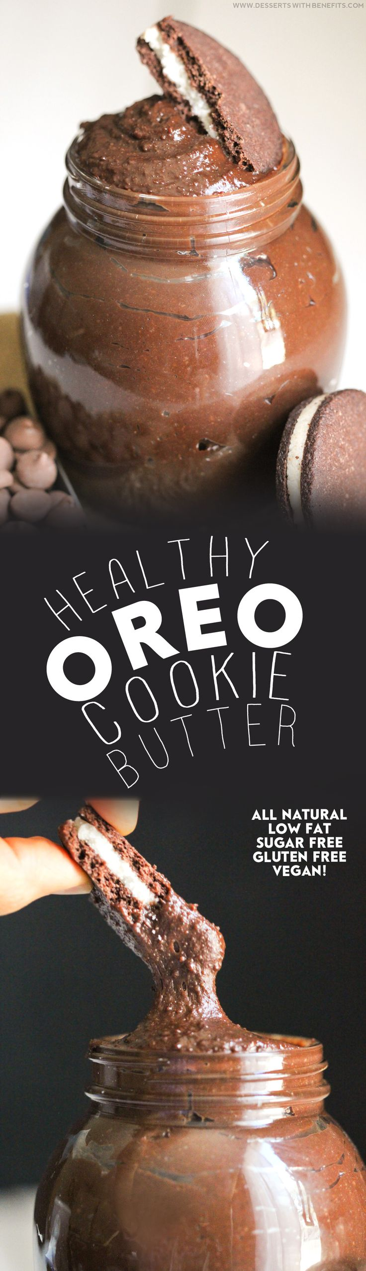 Healthy Oreo Cookie Butter recipe -- thick, rich, sweet, and chocolatey, it'll beat peanut butter and almond butter ANY DAY! You'd never know it's sugar free, low calorie, low fat, gluten free, dairy free, and vegan! Healthy Dessert Recipes at Desserts with Benefits