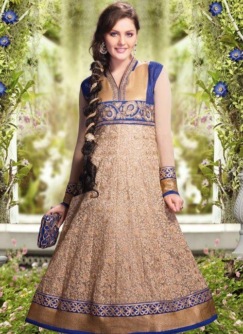 Elegant Deep Beige & Blue Net #Salwar Kameez #salwarkameez #pakistanisalwarkameez #womenapparel #ethnicwear