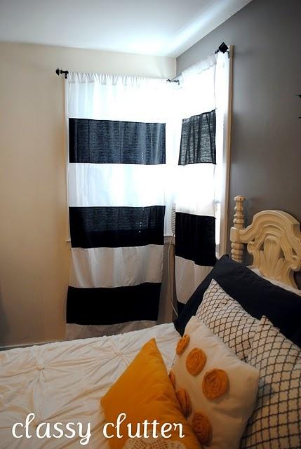DIY Striped curtains for less than 10 bucks - www.classyclutter.net