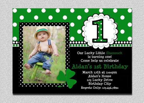 St Patricks Day Birthday Invitation 1st by TheTrendyButterfly, $15.00