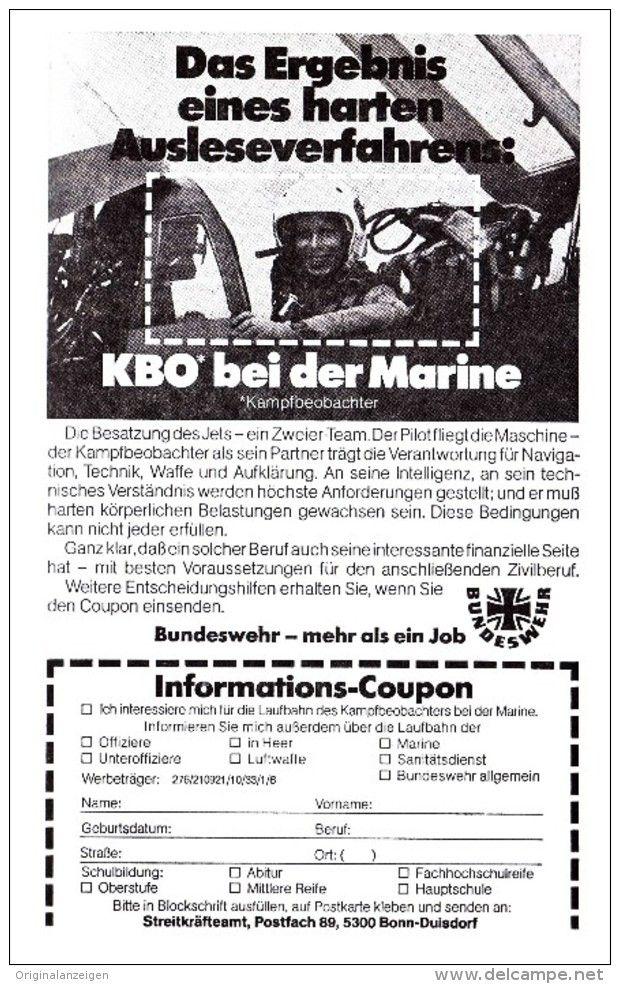 Original-Werbung/ Anzeige 1976 - KBO BEI DER MARINE / BUNDESWEHR - ca. 115 x 180 mm