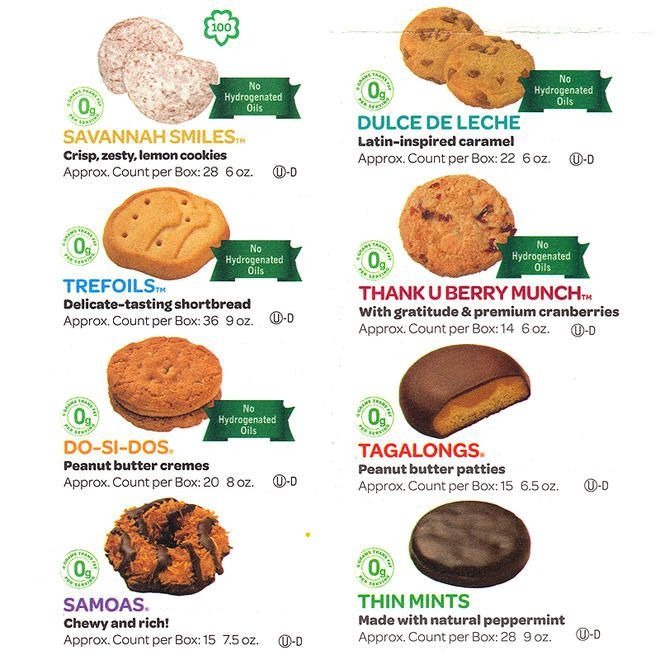 Girl Scout Cookie List | Girl Scout cookie picture chart with box count