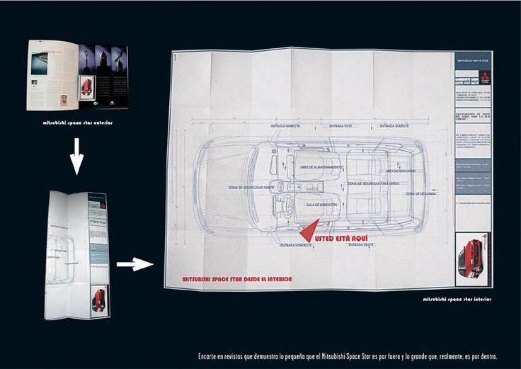Encarte en revistas del plano del monovolumen Mitsubishi Space Star. Agencia: Remo. Cliente: Mitsubishi Motors