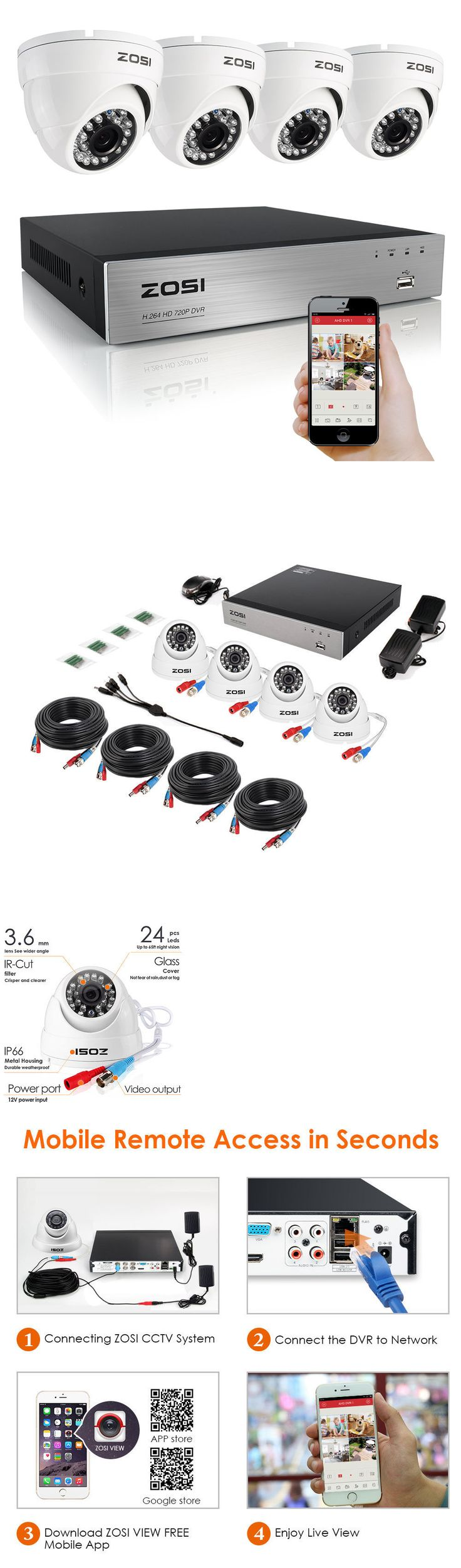 Security Cameras: Zosi Hd 720P 4Ch Hdmi Dvr 1500Tvl Night Vision Dome Home Security Camera System -> BUY IT NOW ONLY: $79.99 on eBay!