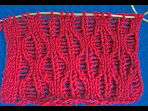 Вязание спицами. Узор со спущенными петлями /// Knitting for beginners. - YouTube