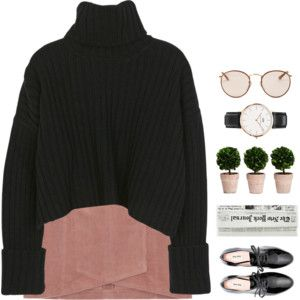 turtleneck and pink suede skirt