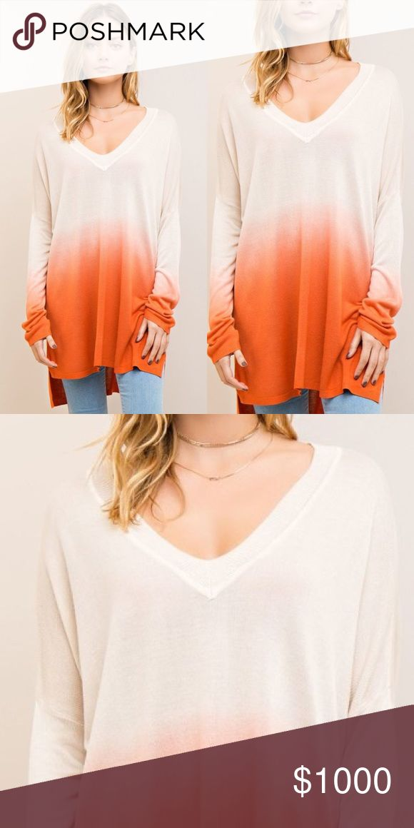 Ombré plunging neckline Top-CARROT Featuring high low hem with side split. Non sheer. Knit. Lightweight. Tops